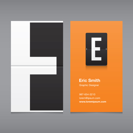 the letter e: Business card with alphabet letter E