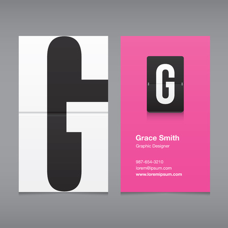 letter g: Business card with alphabet letter G