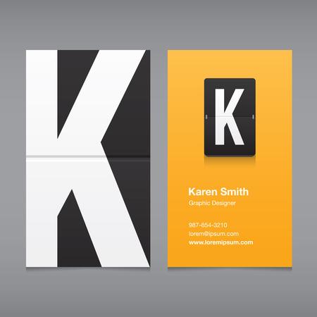 business letters: Business card with alphabet letter K Illustration