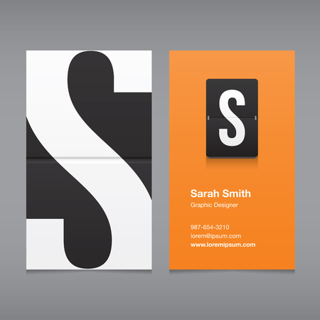 letter of the alphabet: Business card with a letter, alphabet letter S Illustration