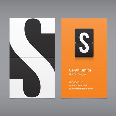lettre s: carte d'affaires avec une lettre, lettre de l'alphabet S Illustration