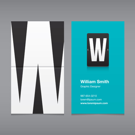 w: Business card with a letter, alphabet letter W