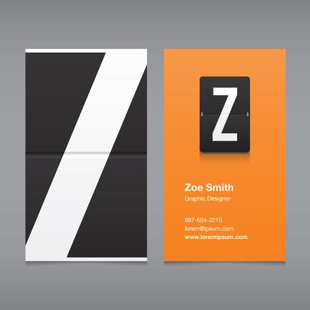 buchstabe z: Visitenkarte mit einem Buchstaben, Alphabet Buchstaben Z