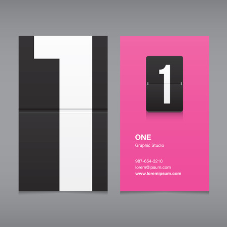 business fashion: Business card with a number, numeral 1 Illustration