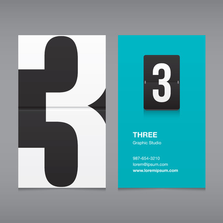 namecard: Business card with a number 3