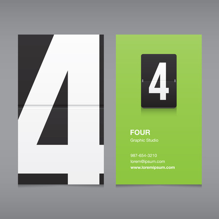 Number 4: Business card with a number 4