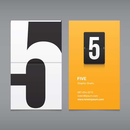 Business card with a number logo, numeral 5