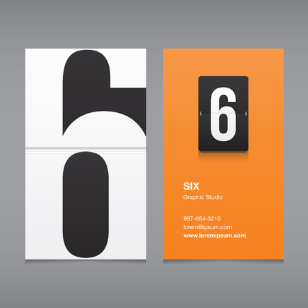 Business card with a number 6