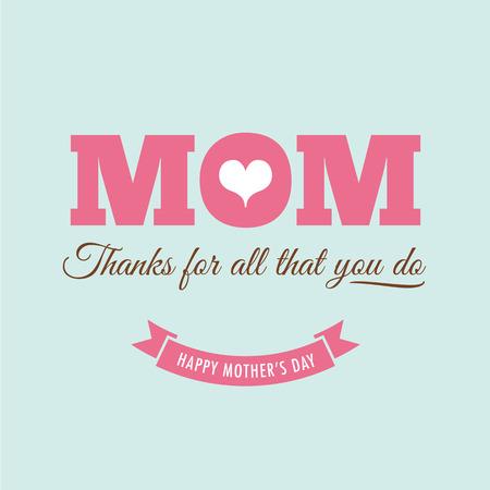 feliz: Las madres tarjeta del día con cita: Gracias por todo lo que haces Vectores