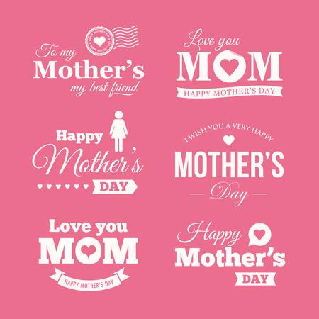 Happy mothers day. Set of badges, logo, labels, signs and symbols Illustration