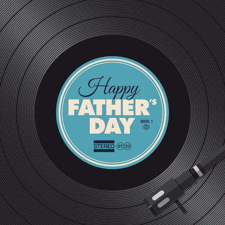 happy fathers day card: Fathers day card, vinyl turntable concept Illustration