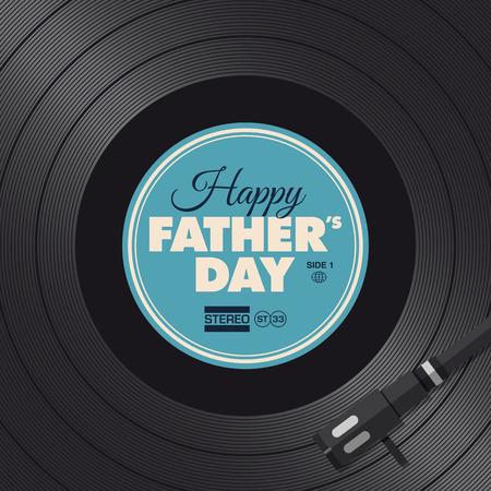 Ojcowie dzień karty, koncepcja gramofon winylu Ilustracje wektorowe