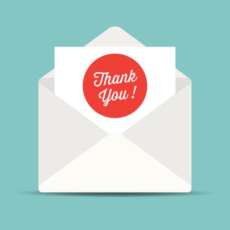Sobre de correo, tarjeta de agradecimiento.
