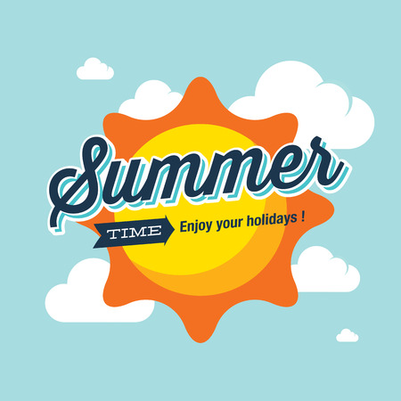 weather: Summer logo vector illustration. Summer time enjoy your holidays.