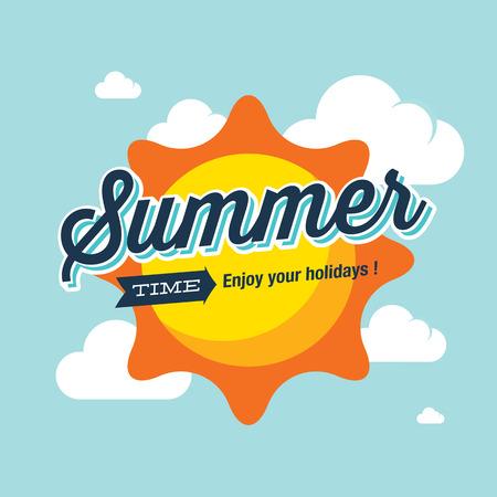 estado del tiempo: Verano ilustración insignia del vector. El horario de verano disfrutar de sus vacaciones. Vectores