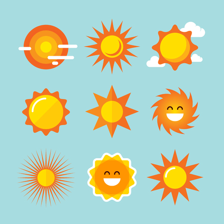 Sun icons set. Vector illustrations. Vector