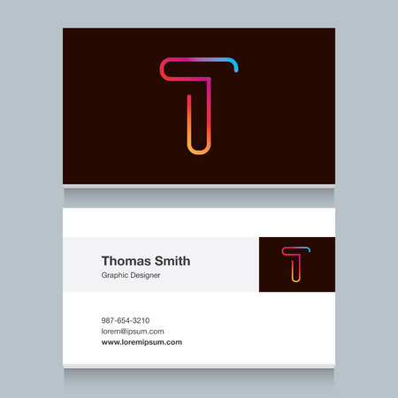 t background: Logo alphabet letter T with business card template.
