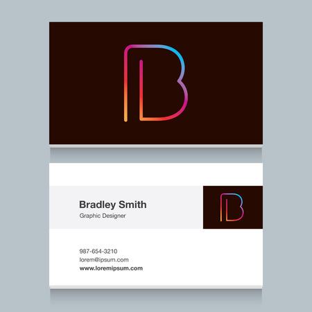 名刺テンプレートとロゴ アルファベットB。あなたの会社のロゴのベクトル グラフィック デザイン要素です。