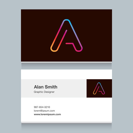 neon letter: Logo alphabet letter A with business card template. Vector graphic design elements for your company logo.