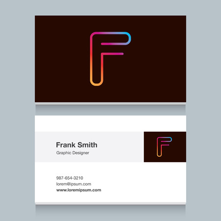 icon alphabet letter F with business card template. Vector graphic design elements for your company.