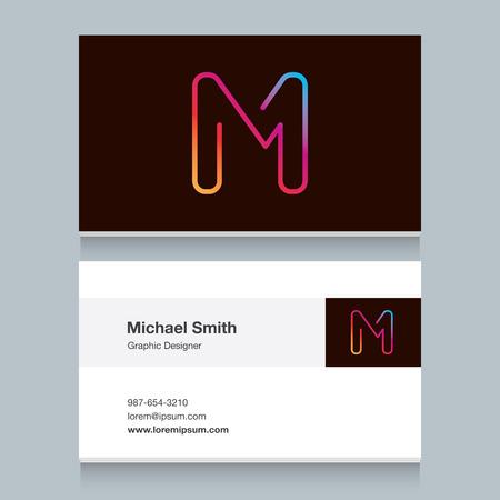 名刺テンプレートとロゴのアルファベット文字M。あなたの会社のロゴのベクトル グラフィック デザイン要素です。