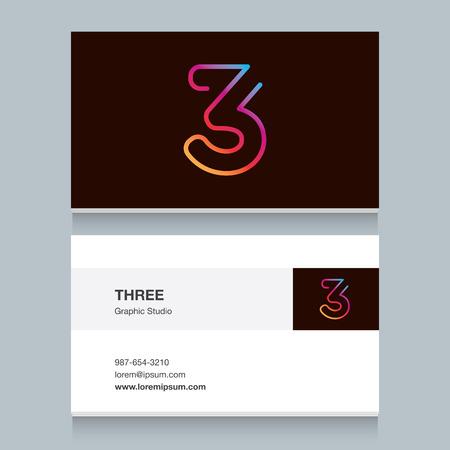 """numero nueve: Logo número tres """"3"""" con la plantilla de tarjeta de visita. Diseño totalmente editable vector."""