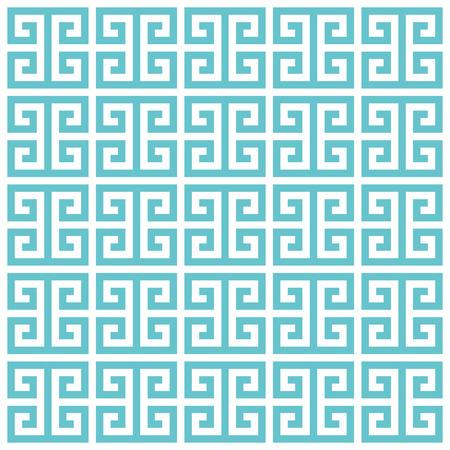 greek: Greek key pattern background. Vector background blue green