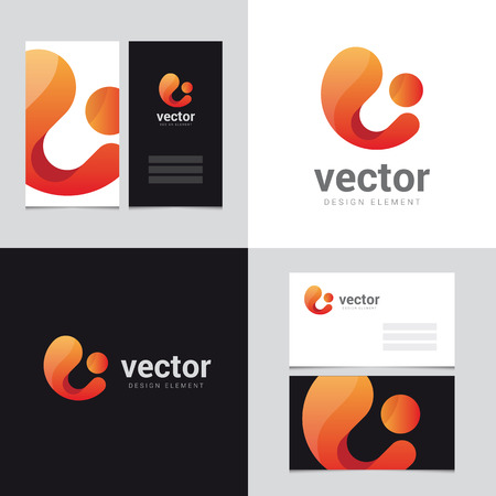 brand identity: Logo design element with two business cards template - 22 - Vector graphic design elements for brand identity. Illustration