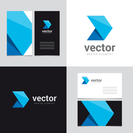 vector arrow: Logo design element with two business cards template - 23 - Vector graphic design elements for brand identity.