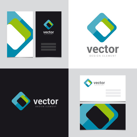 blue and green: Logo design element with two business cards template - 26 - Vector graphic design elements for brand identity. Illustration