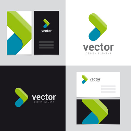 abstract logos: Logo design element with two business cards template - 27 - Vector graphic design elements for brand identity. Illustration