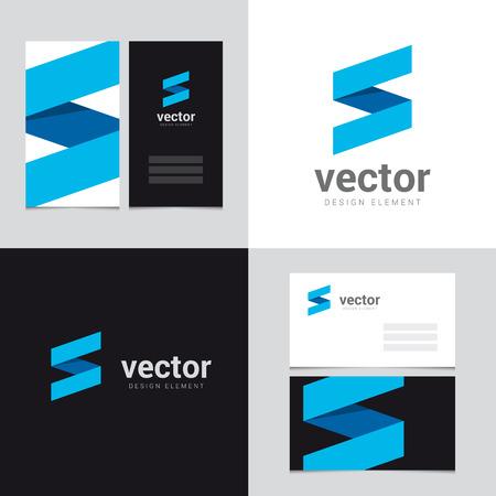 Logo design element met twee adreskaartjessjabloon - 28 - Vector grafisch ontwerp elementen voor merkidentiteit. Stock Illustratie