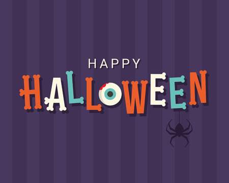 halloween symbol: Halloween card, halloween logo title, bones font, editable vector design
