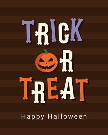 treats: Happy Halloween tarjeta, truco o logotipo convite título, huesos fuente, diseño vectorial editable