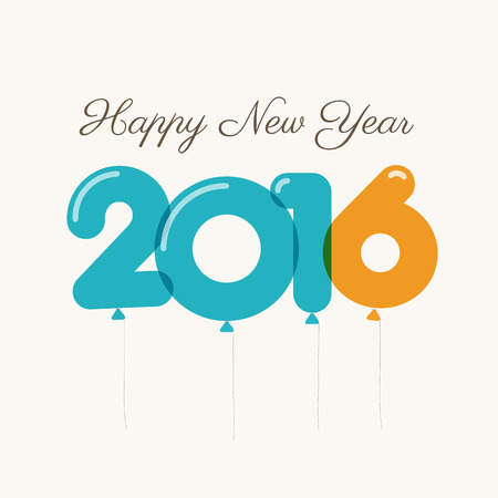 one year: Happy new year 2016 card, balloons font, editable vector design