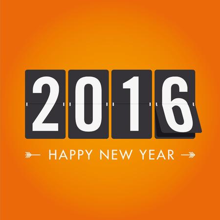 meses del año: Feliz tarjeta de año nuevo 2016, globos fuente, diseño vectorial editable Vectores