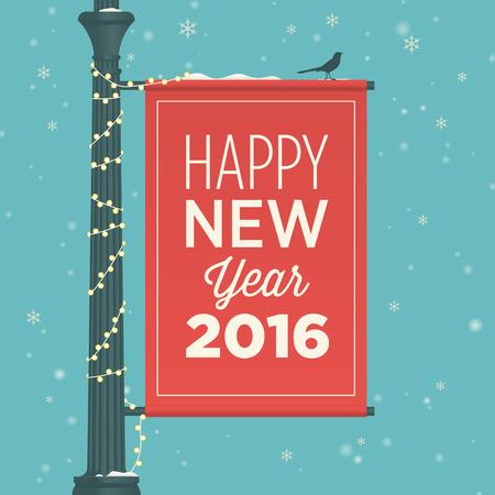 editable invitation: Happy new year 2016 card, street sign, editable vector design