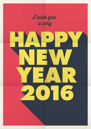 frohes neues jahr: Happy new year 2016 poster card, retro vintage title, editable vector design