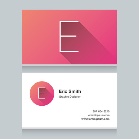 e card: Logo alphabet letter E, with business card template. Vector graphic design elements for your company logo.