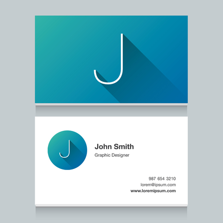 font alphabet: Logo alphabet letter J, with business card template. Vector graphic design elements for your company logo. Illustration