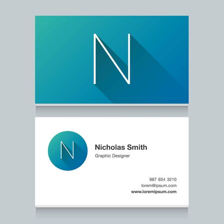Logo alphabet letter N, with business card template. Vector graphic design elements for your company logo.
