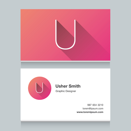 letter u: Logo alphabet letter U, with business card template. Vector graphic design elements for your company logo. Illustration