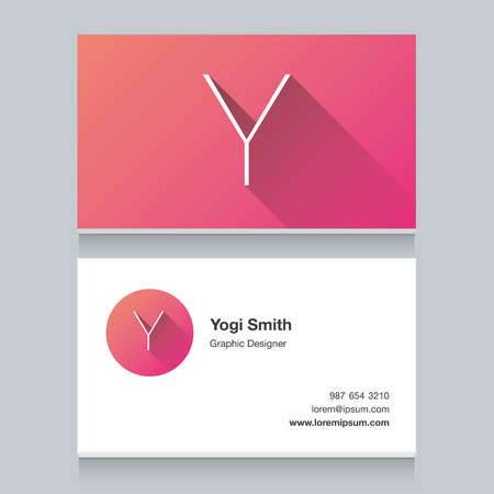 business card design: Logo alphabet letter Y, with business card template. Vector graphic design elements for your company logo. Illustration