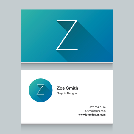 design vector: Logo alphabet letter Z, with business card template. Vector graphic design elements for your company logo.
