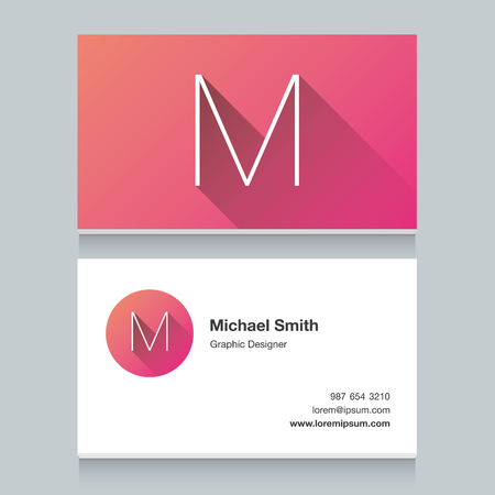 Logo alphabet letter M, with business card template. Vector graphic design elements for your company logo. Illustration