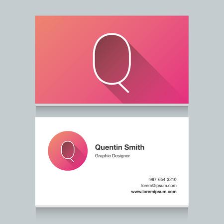 """lettres alphabet: Lettre de l'alphabet de Logo """"Q"""", avec le modèle de carte de visite. Vector design graphique éléments pour votre logo d'entreprise. Illustration"""