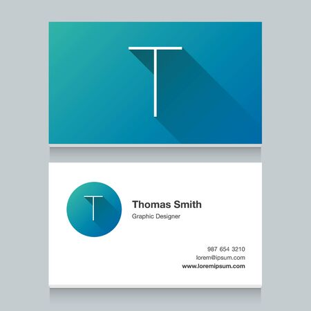 business letter: Logo alphabet letter T, with business card template. Vector graphic design elements for your company logo.