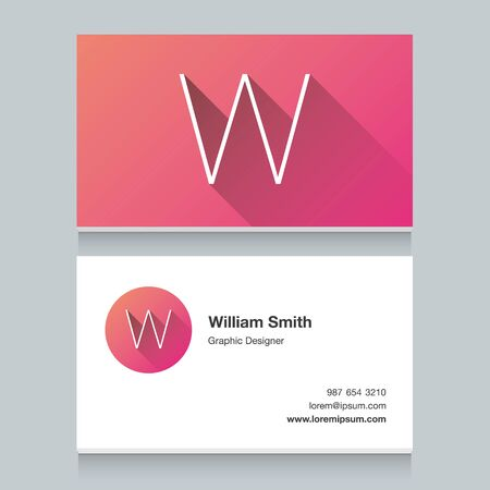 company logo: Logo alphabet letter W, with business card template. Vector graphic design elements for your company logo.