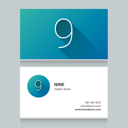 visitekaartje:  number 9, with business card template.  graphic design elements for your company
