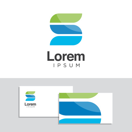 Vector graphic design elements with business card template. Ilustracja
